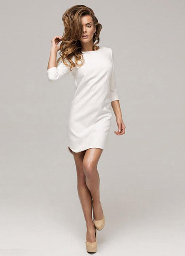 weißes schlichtes Kleid A
